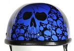 Blue Skull Boneyard Novelty Motorcycle Helmet