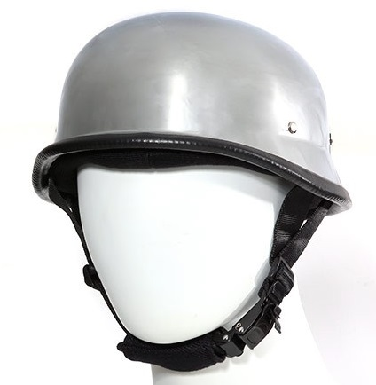 Gloss Black German Novelty Motorcycle Helmet with Quick Release Adjustable Strap
