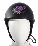 DOT Womens Purple Rose Motorcycle Half Helmet