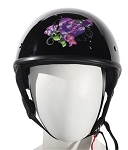 DOT Womens Purple Rose Motorcycle Half Helmets