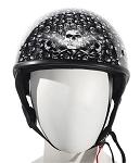 DOT Gloss Black Motorcycle Half Helmet with Skulls