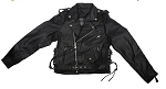 Teens Leather Motorcycle Jacket With Side Laces