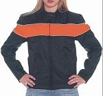 Women's Leather Motorcycle Jacket Reflective Orange Piping
