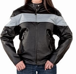 Womens Leather Motorcycle Jacket Reflective Gray Piping