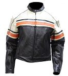 Womens Leather Jacket, Cream Upper Half, Orange Stripes