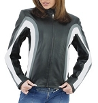 Womens Leather Jacket with Gray and White Stripes