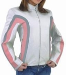 Womens Leather Jacket with Black and Pink Stripes
