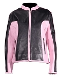 Women's Black and Pink Leather Motorcycle Jacket