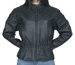 Women's Leather Motorcycle Jacket with Air Vents