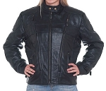 Womens Leather Motorcycle Jacket with Air vents