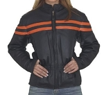 Womens Vented Leather Motorcycle Jacket with Orange Stripes