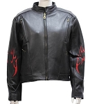 Ladies Leather Motorcycle Jacket with Flames