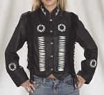 Womens Fringed Black Leather Jacket With Bones & Beads
