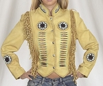Womens Beige Leather Jacket With Fringes