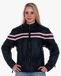 Women's Vented Leather Racer Jacket with Pink Stripes