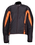 Women's Black/Orange Textile Motorcycle Jacket