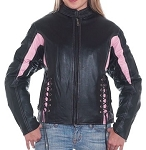 Women's Black & Pink Leather Motorcycle Jacket