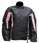 Womens Black/Pink Textile Motorcycle Jacket