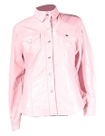 Women's Pink Leather Shirt with Snaps and Lining