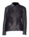 Womens Black Rose Leather Jacket with Fringe