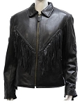 Women's Fringe Leather Jacket with Braid & Conchos