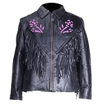 Women's Purple Rose Fringe Leather Motorcycle Jacket
