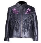 Women's Purple Rose Fringe Leather Motorcycle Jacket