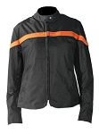 Womens Black and OrangeTextile Motorcycle Jacket