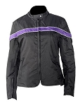 Womens Black and Purple Textile Motorcycle Jacket
