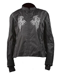 Womens Motorcycle Jacket With Black Hoodie & Wings