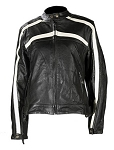 Women's Leather Motorcycle Jacket Off White Stripes