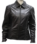 Women's Leather Motorcycle Jacket with Braid & Z/O Liner