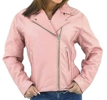 Womens Pink Leather Motorcycle Jacket with Braid