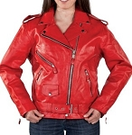Womens Red Leather Motorcycle Jacket with Zip Out Lining