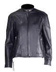 Women's Vented Leather Motorcycle Jacket with Side Laces