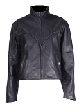 Womens Leather Motorcycle Jacket with V-Braid