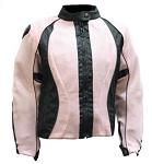 Women's Black/Pink Padded Textile Motorcycle Jacket