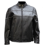 Women's Vented Leather Jacket with Reflective Pipng