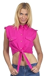 Womens Front Tie Hot Pink Denim Sleeveless Shirt