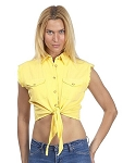 Womens Front Tie Yellow Denim Sleeveless Shirt
