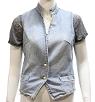 Womens Denim Vest With Multiple Pockets