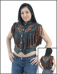 Womens Black & Orange Flame Leather Vest with Fringes