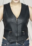 Womens V-Neck Leather Vest with Gathered Sides