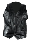 Womens Classic Leather Vest with Front Pockets