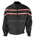 Men's Textile Motorcycle Jacket Orange/White Stripes