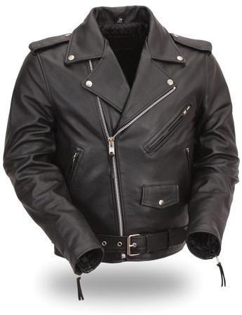 Men's Leather Motorcycle Jacket, Sidelaces, Full Belt