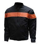 Mens Black Textile Motorcycle Jacket With Orange Stripes