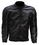 Mens Reflective Piping Black Armored Motorcycle Jacket