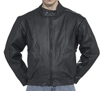 Mens Vented Leather Racer Jacket With Neck Warmer