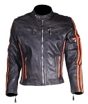 Mens Black leather Motorcycle jacket with Orange Stripes
